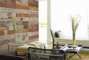 Muro interior revestida con piedra pizarra