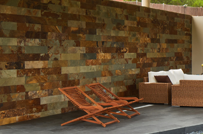 muro exterior revestida y enchapada con oxidado de piedra natural