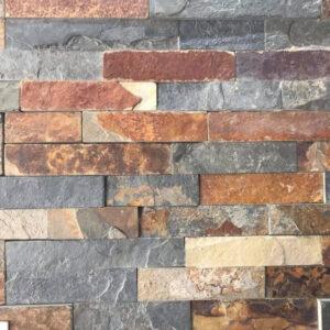Muro muestra de fachaleta taco panel oxidado